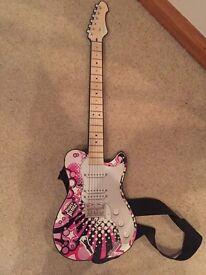 Paper Jams pink guitar with black strap