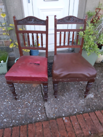 Two Victorian Oak Carved Grand Chairs