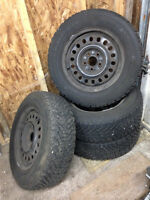 4x  205/65 R15 Goodyear Nordic Winter tires on rims, (with wheel