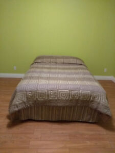 Queen mattress with box spring and steel frame