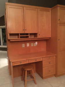 Solid Maple Desk and Upper Cabinets