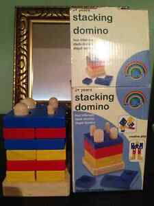 Wood stacking domino game/activity
