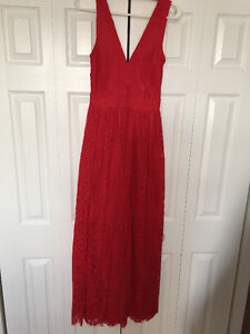 BEBE red lace maxi dress size 2