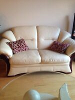 Causeuse/Fauteuil vrai cuir /love seat/armchair real leather