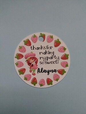 Strawberry Shortcake Birthday (12 Personalized Strawberry shortcake birthday party favor)