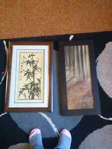Two wall art images in frames