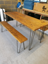 Kitchen table with 2 benches.