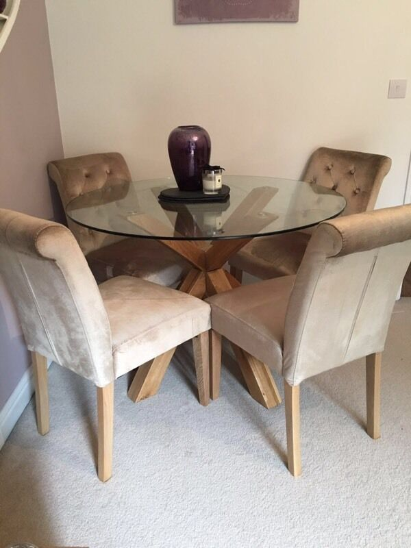 Next solid oak glass top table with 4x next chairs in for Glass top dining table next