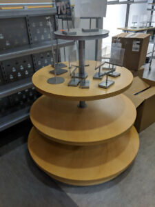 Display tables, shelves and clothing racks