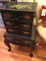 247: Black Floral Painted Jewellery Chest $85