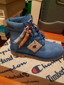 Timberland×Champion boots in blue