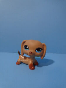Littlest Pet Shop LPS #518 Dachshund Dog Blue eyes Striped Ears