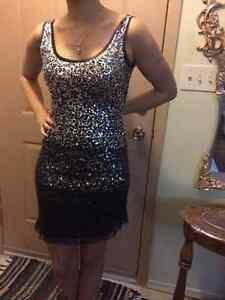 Silver and Black Sequin Dress - Size 6-8