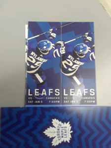 LEAFS VS Vancouver canucks January 5 tickets