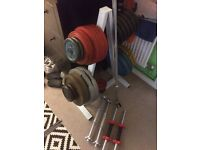190kg standard cast iron weights plus bars and stand