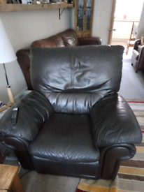 One seater brown leather and 2 seater