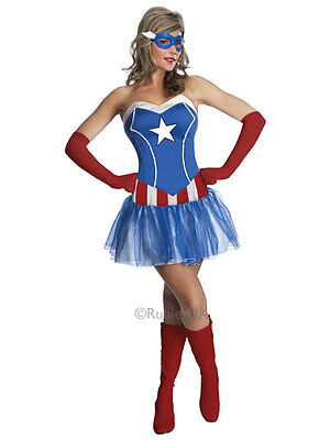 Ladies Miss American Dream Avengers Captain America Fancy Dress Tutu Costume](Captain America Tutu Costume)