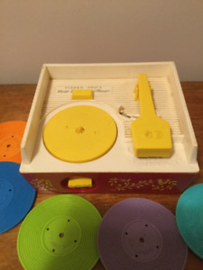 Vintage Fisher Price Wind Up Record Player Music Box