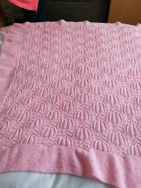 Hand knitted dusky pink feather pattern shawl