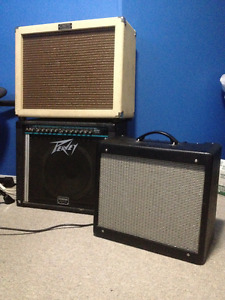 3 Tube amps for sale Fender Peavey and Crate