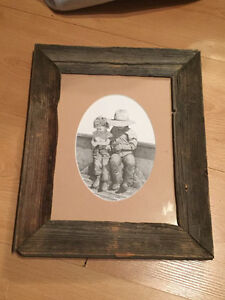 Distressed Wood Frame with Bernie Brown Art Included