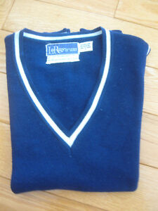 TWO NAVY-BLUE UNI-SEX KNITTED VESTS