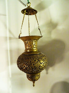 antique MOROCCAN HANGING LANTERN pierced filigree brass PERSIAN