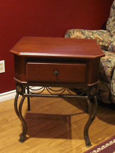 Cherry Wood and Metal End Table