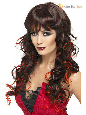 Ladies Vixen Vampiress Wig Black Red Wavy Womens Halloween Fancy Dress Costume - Vampiress Wigs