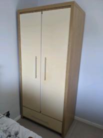 Next gloss and oak effect wardrobe