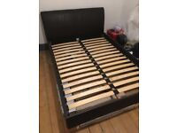 Brown real leather sleigh double bed