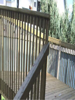 Affordable wood fence and DECKS construction Wood fence brown or