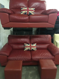 Red leather settees