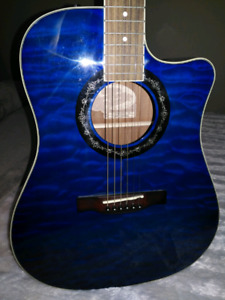 Acoustic Electric Guitar Fender T Bucket 300CE Trans Blue