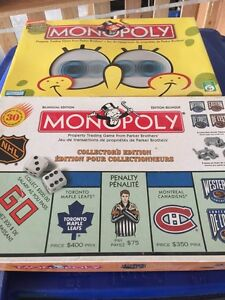 Nhl monopoly and sponge bob monopoly