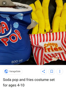 fries and pop costume, size 4-10 kids