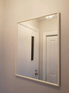 Mirror plain white frame.Suitable for hallway or washroom .