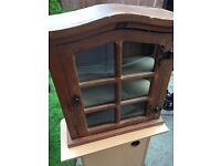 Lovely wooden display cabinet - wall mountable (has rings for wall mount)