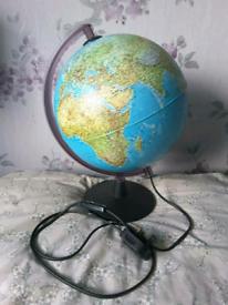 Earth, Globe, World illuminated lamp
