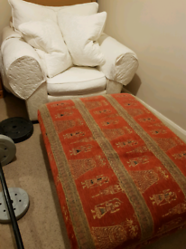 2 white Armchairs and BIG footstool