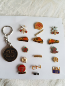 Vintage CN Pins, Tie Tacks & Key Chain Collection