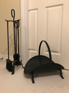 ANTIQUE WROUGHT IRON 4 PC.  Fireplace Tool Set & Log Holder