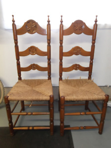 Ladder Back Chairs - Antique