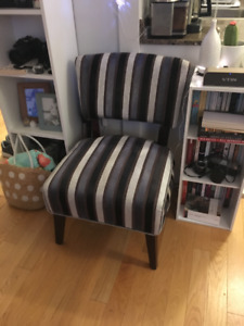 Grey and Blue Accent Chair