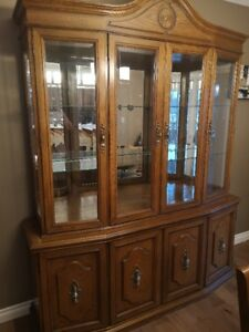 China Cabinet & Hutch - Solid Oak