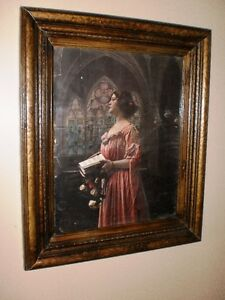 Antique Picture Frame with 1900 Ullman Mfg. Lithograph Print