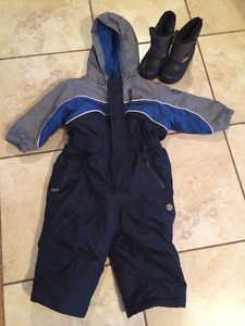 Old Navy Boys 12-18mo. One Piece Snowsuit & Sz 5 Boots