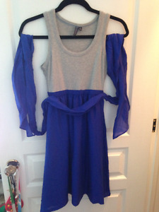 Grey and blue silk dress from Anthropologie