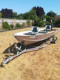 Mint condition 14ft aluminium semi v boat, Mercury 6hp outboard, indespension trailer and more