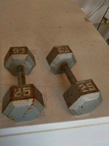 Two 25 pound Hex dumbbells